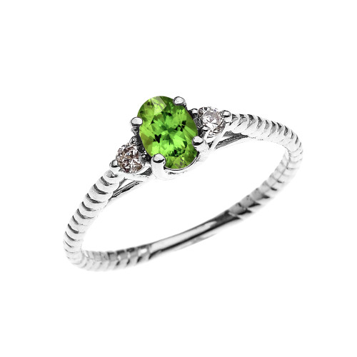 Dainty White Gold Peridot Solitaire Rope Design Engagement/Promise Ring