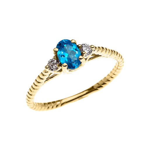 Dainty Yellow Gold Blue Topaz Solitaire Rope Design Engagement/Promise Ring