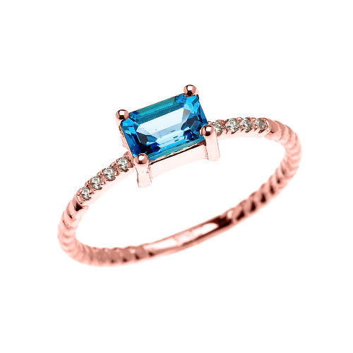 Dainty Rose Gold Solitaire Emerald Cut Blue Topaz and Diamond Rope Design Engagement/Promise Ring