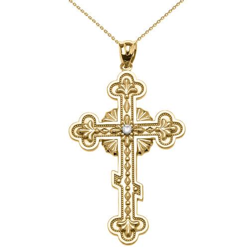 Elegant Eastern Orthodox Diamond Cross Pendant Necklace In Gold (Yellow/Rose/White)