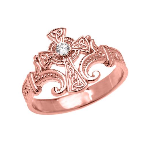 Rose Gold Solitaire Diamond Celtic Cross with Encrypted Prayer Blessings Elegant Ring