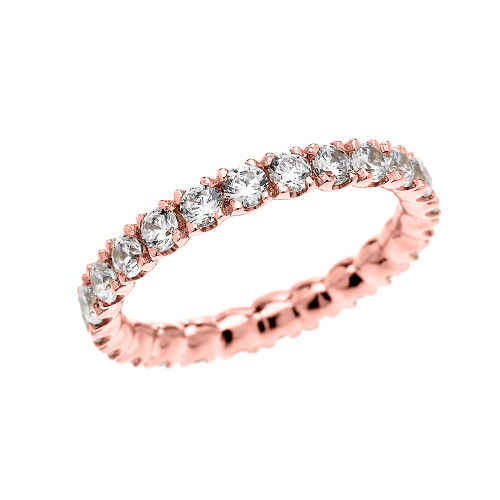 2 Carat Cubic Zirconia Stackable Wedding Band in Rose Gold