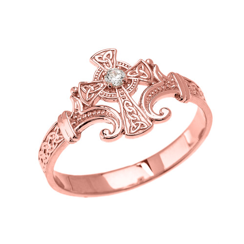 Rose Gold Solitaire Cubic zirconia Celtic Cross With Trinity Design Elegant Ring