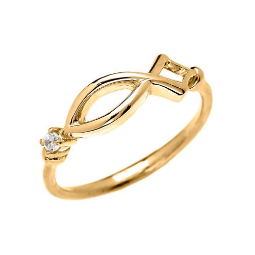 Christianity Symbol Ichtus Dainty Diamond Yellow Gold Ring