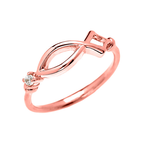 Christianity Symbol Ichtus Dainty Cubic Zirconia Rose Gold Ring