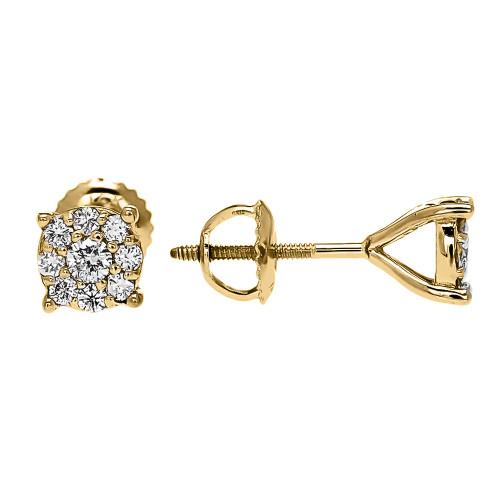 1/2 (0.5) Carat Halo Diamond Cluster Stud Earrings in Yellow Gold (Medium)