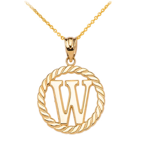 """Yellow Gold """"W"""" Initial in Rope Circle Pendant Necklace"""