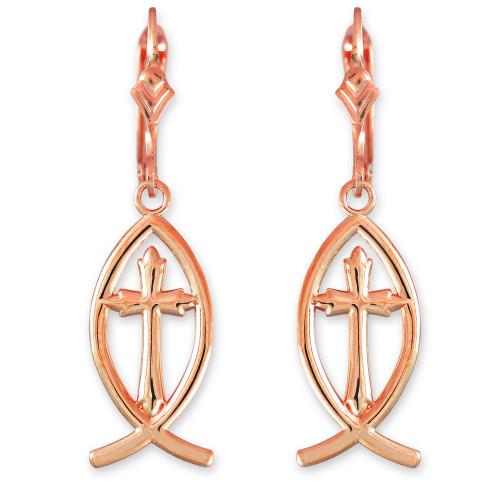 14K Rose Gold Ichthus Cross Earrings