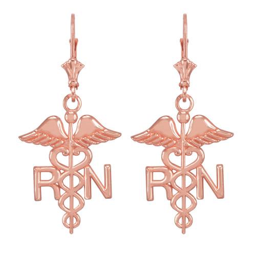 14k Rose Gold Medical Registered Nurse Earrings