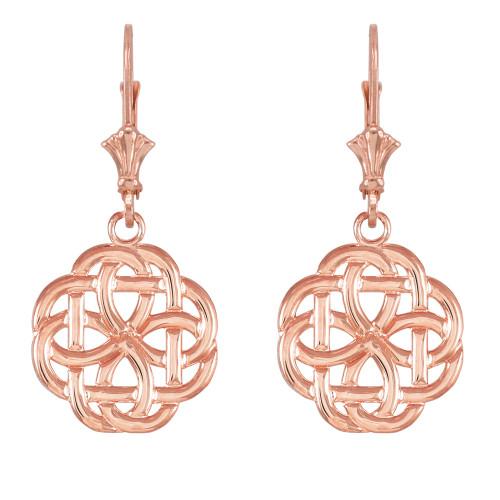 14k  Rose Gold Eternity Trinity Knot Earrings