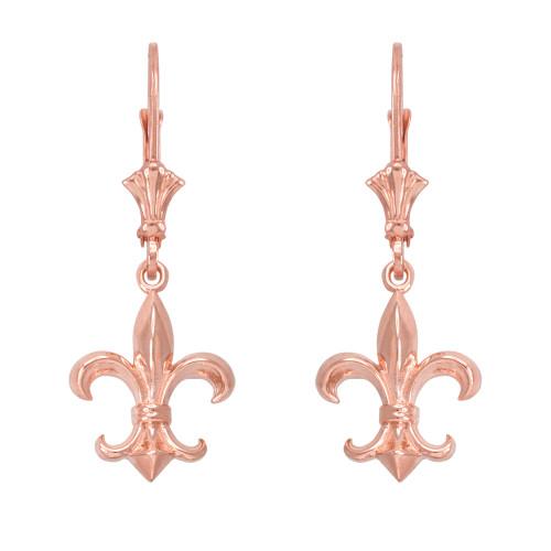 14k Rose Gold Fleur-de-Lis Earrings