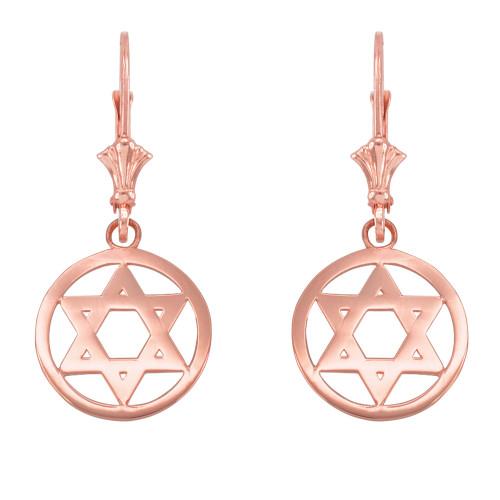 14k Rose Gold Encircled Star of David Earrings