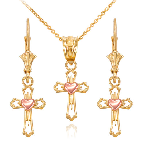 14k Two Tone Yellow and Rose Gold Heart Cross Necklace and Earring Set