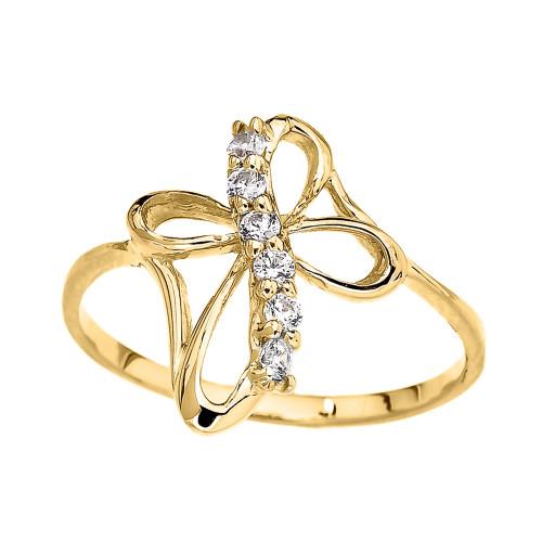 (Yellow,Rose,White) Gold Dainty Cubic Zirconia Modern Cross Ring