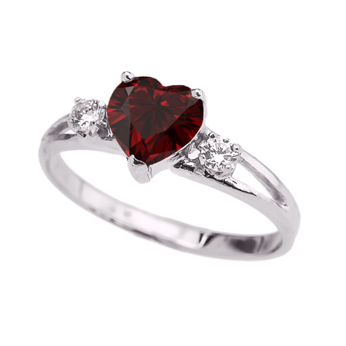 White Gold Garnet Heart Proposal/Promise Ring