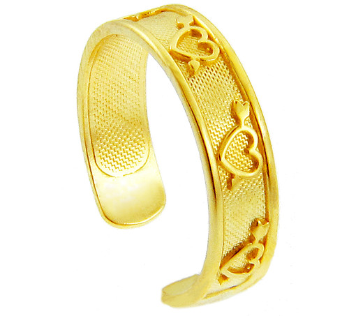 Yellow Gold Heart and Arrow Toe Ring