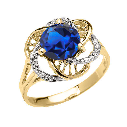 Yellow Gold CZ Sapphire Solitaire Modern Flower Ladies Ring
