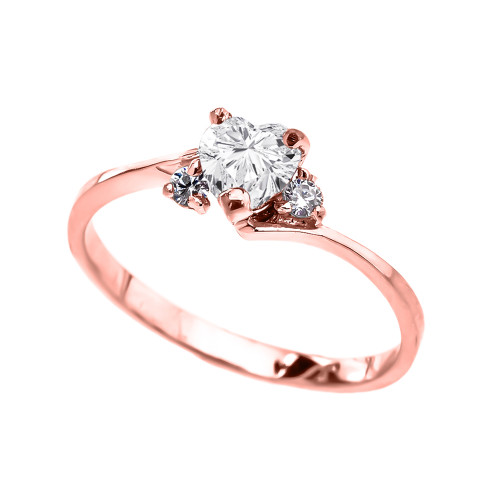Dainty Rose Gold CZ Heart Promise Ring