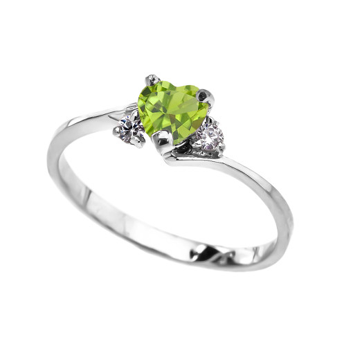 Dainty White Gold CZ Peridot Heart Promise Ring