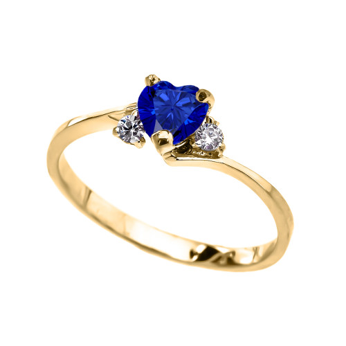 Dainty Yellow Gold CZ Sapphire Heart Promise Ring