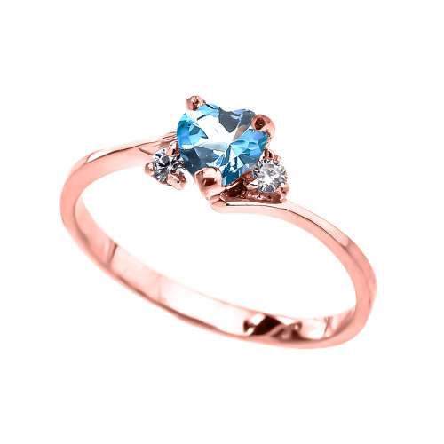 Dainty Rose Gold Blue Topaz CZ Heart Promise Ring