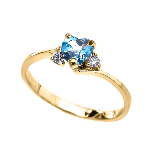 Dainty Yellow Gold Blue Topaz CZ Heart Promise Ring