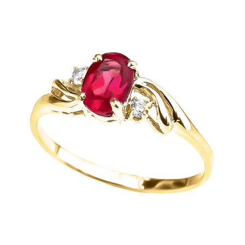 Yellow Gold (LCR) Ruby Oval Solitaire Proposal Ring