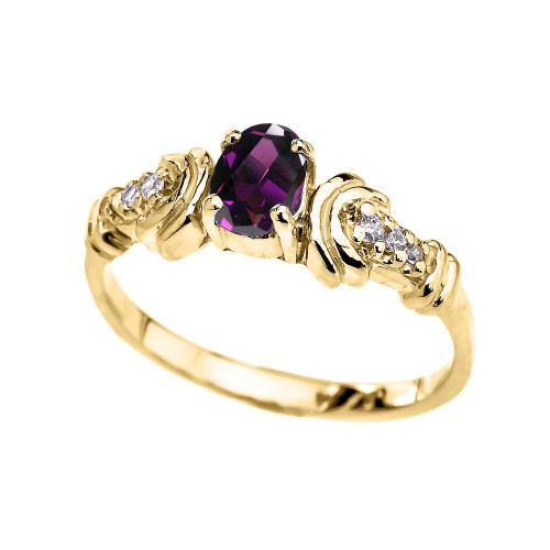 Diamond and Amethyst Oval Solitaire Proposal Ring In Gold (Yellow/Rose/White)