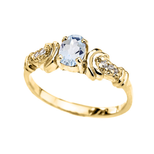Diamond and Aquamarine Oval Solitaire Proposal Ring In Gold (Yellow.Rose/White)