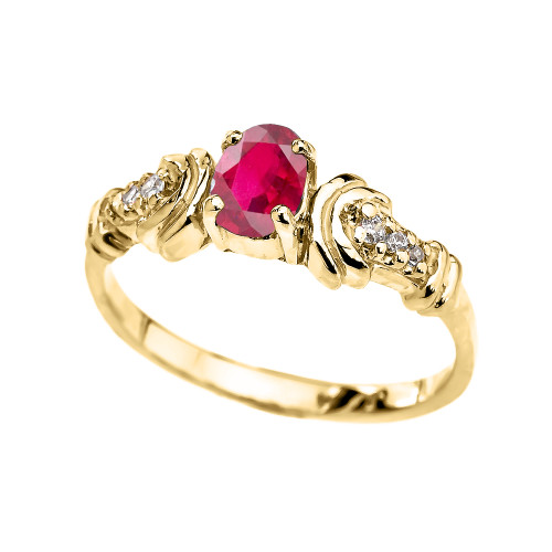 Diamond and Ruby Oval Solitaire Proposal Ring In Gold(Yellow/Rose/White)