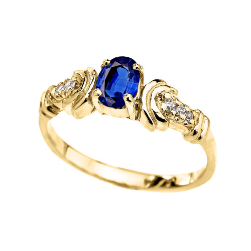 Diamond and Sapphire Oval Solitaire Proposal Ring In Gold (Yellow/Rose/White)