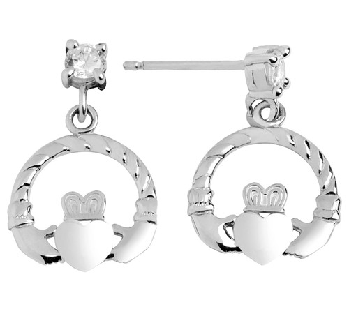 White Gold Claddagh Earring with CZ