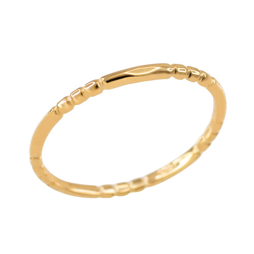 Yellow Gold 1.3 mm Beaded Knuckle Band Ring