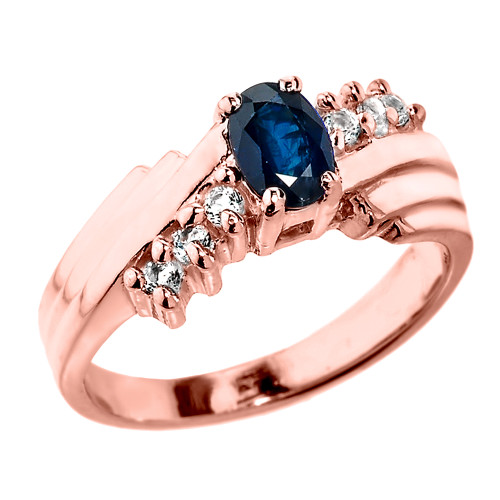Dazzling Rose Gold Diamond and Blue Sapphire Proposal Ring