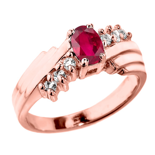 Dazzling Rose Gold Diamond and Ruby Proposal Ring