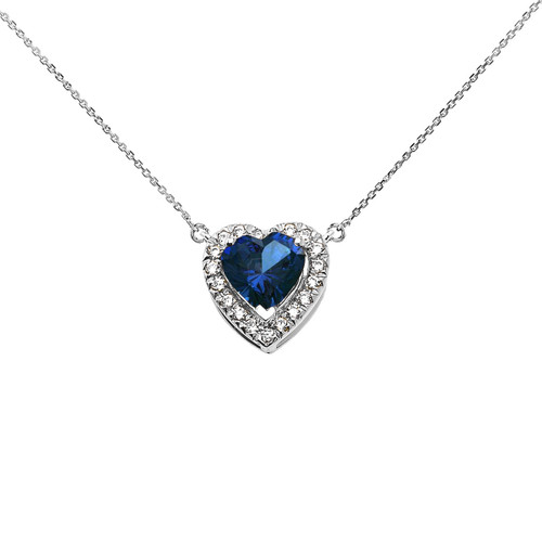 Elegant White Gold Diamond and September Birthstone Blue Heart Solitaire Necklace