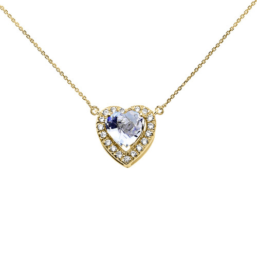 Elegant Yellow Gold Diamond and March Birthstone Aquamarine Heart Solitaire Necklace