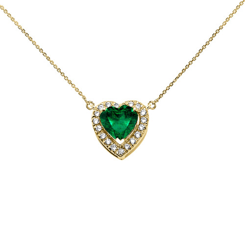 Elegant Yellow Gold Diamond and May Birthstone (LCE) Emerald Heart Solitaire Necklace