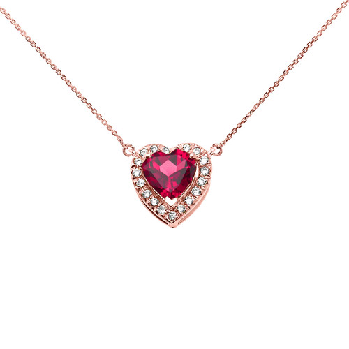 Elegant Rose Gold Diamond and July Birthstone Heart Solitaire Necklace