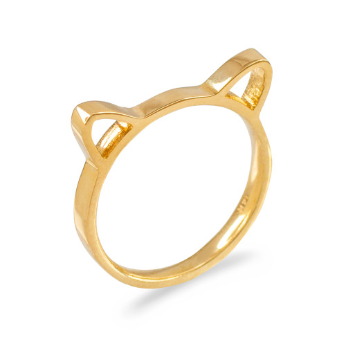 Gold Kitten Silhouette Ladies Stackable Ring Band