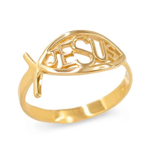 Yellow Gold Christian Ichthus Jesus Ring