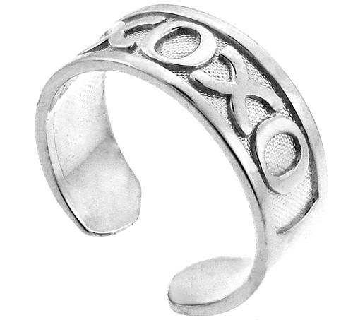 Silver XOXO Toe Ring