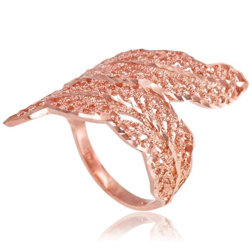 Gold Diamond Cut Laurel Wreath Leaf Ring Leaf Rings