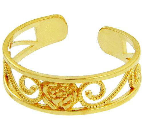 Yellow  Gold Rose Toe Ring