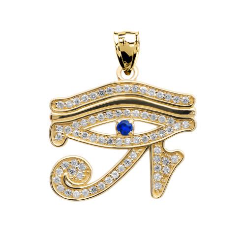 Eye of Horus Yellow Gold Diamond and Sapphire Pendant Necklace