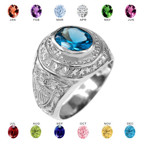 Solid White Gold US Navy Men's CZ Birthstone Ring