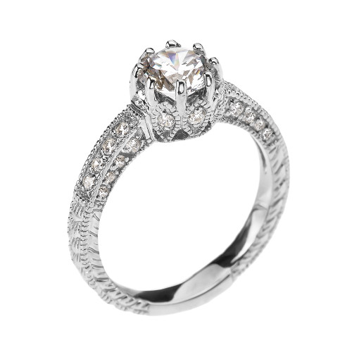 Art Deco Diamond White Gold Engagement and Proposal Ring with 1 Carat White Topaz Centerstone