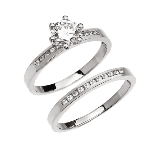 Diamond Channel-Set White Gold Engagement And Wedding Ring Set With 1 Carat White Topaz Center stone