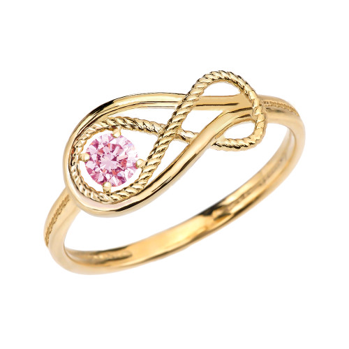 Pink CZ Rope Infinity Yellow Gold Ring