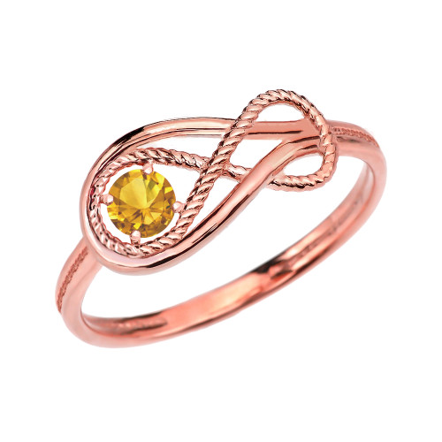 Citrine Rope Infinity Rose Gold Ring